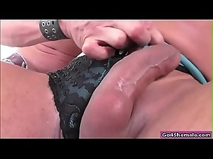 Busty shemale Melyna Merli dicksucked and anal fucking a guy